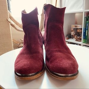 PRE-LOVED Wine Suede ankle boots